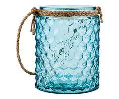 Porta tealight in vetro Kensi blu, 11x13x11 cm