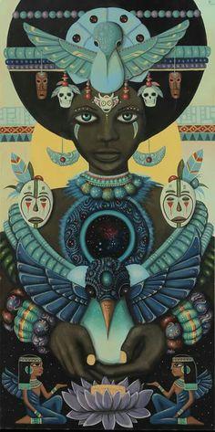Primordial Spirit from Paul Lewin Art Black Panthers, Fantasy Kunst, Fantasy Art, Coin D'art, Illustrations, Illustration Art, Art Hippie, African Mythology, Afrique Art