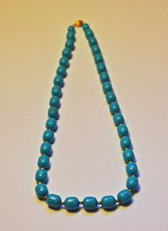 Items similar to Vintage Necklace, Turquoise Blue, Beaded Necklace, Blue And Gold, Golden Clasp. on Etsy Turquoise Necklace, Beaded Necklace, Golden Color, Turquoise Color, Blue Beads, Craft Projects, Vintage Jewelry, Crafts, Etsy