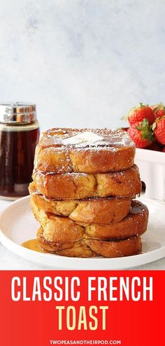 Classic French Toast Classic French Toast Recipe is the best holiday recipe for breakfast! This cinnamon french toast recipe is easy to make at home. Serve this light and fluffy classic French toast recipe with butter, maple syrup, and powdered sugar! French Toast Muffins, Brioche French Toast, French Toast Rolls, Banana French Toast, Make French Toast, Cinnamon French Toast, Cinnamon Toast Crunch, Cinnamon Rolls, Pancakes Cinnamon
