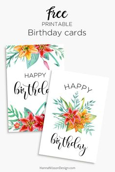 Printable Floral Birthday Cards Tags And Gift Box FREE Download To