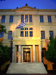 The Faculty of Philosophy, the earliest building of Aristotle University, founded in The University's motto is engraved on the entrance. Macedonia Greece, Crete Greece, Mykonos, Santorini, Mein Land, In Ancient Times, Ancient Greek, Athens, Beautiful Places
