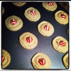 Easy Christmas cookie..pilsbury sugar cookies w peppermint Hershey kisses in the middle! Quick and yummy!!!