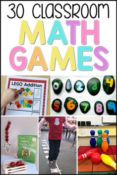 30 classroom math games for kids that are fun. Teachers will like that they help kids learn math in memorable ways. Try these 30 math games in your classroom today! #classroomgames #teachingmath #mathgames