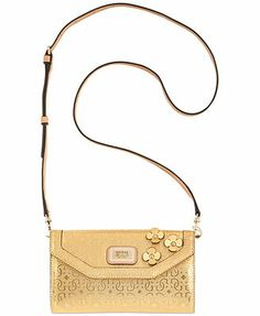 GUESS Britton Wallet Crossbody. The little mental flowers make the bag special.