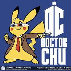There's a whole new legendary pokemon in town!  This awesome (and adorable) Pikachu x Doctor Who mashup art was created by Level Up Studios, and is so awesome that they put it on a shirt.  See Ten (David Tennant / the Tenth Doctor), in a whole new way... as a cute, furry little rodent of a timelord, who spits lightning and has a pokeball (I mean Tardis) that's bigger on the inside.  You'll need a Master Ball to catch him, in Pokemon Go :)