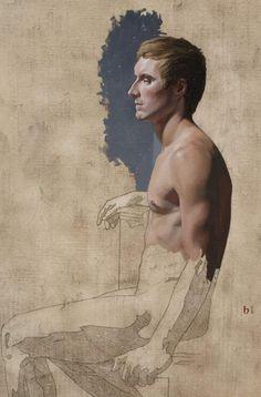 """""""GCA Figure Study"""" by Bryan Larsen, 2008, 18"""" x 24"""", oil on linen"""