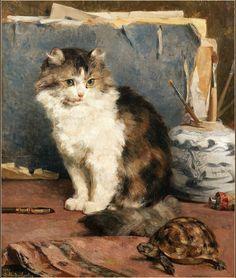 Cat and Turtle Private Collection Charles Van den Eycken (1859-1923, Belgian)