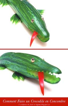 Comment Faire un Crocodile en Concombre / How to Make a Cucumber Crocodile Kids Food Crafts, Food Art For Kids, Fun Snacks For Kids, Healthy Meals For Kids, Fruits Decoration, Vegetable Decoration, Fruit Sculptures, Food Sculpture, Veggie Art
