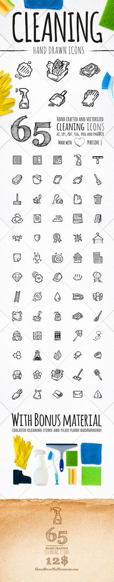 65 Cleaning Icons by Agata Kuczminska