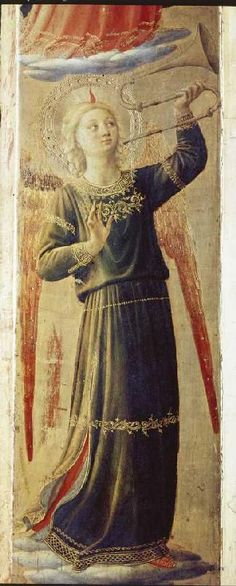 Angel holding a trumpet by Fra Angelico.