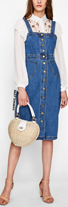 Button Front Strap Denim Overall Dress