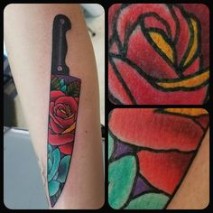 Tattoos - Tattoo Artist - tattoo- color tattoo - art - killeen - texas - knife - knife tattoo- rose - rose tattoo -