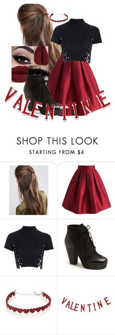 """""""Happy Valentine's Day ❤️"""" by scarlet-snow2603 on Polyvore featuring DesignB London, Chicwish, Glamorous, Steve Madden, Simons and National Tree Company"""