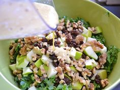 Apple Dijon Kale Salad.  Must make, since we are all nuts about kale.  I will sub dried cranberries or tart cherries instead of raisins, and would definitely go light on the dressing.