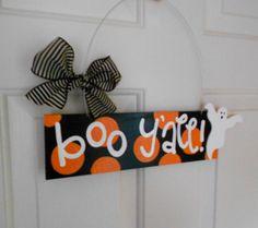 Boo Y'all Happy Halloween Polka Dot Ghost by yourethatgirldesigns, $24.95