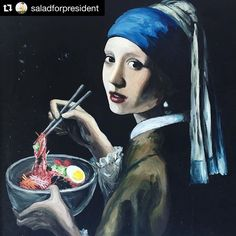 When you want to ask someone out for a date.  Mix the old culture with the new.  Old fashion Manners , new romance & a sense of humour is Golden dudes.  #Repost @saladforpresident with @repostapp. ・・・ Epic #ramen chalk art on 23rd street. I ❤️ New York. #Vermeer