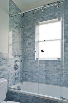 36 Trendy Bathroom Window In Shower Tile Ideas Bathroom Windows In Shower, Bathroom Window Coverings, Window In Shower, Glass Shower Doors, Shower Tub, Clean Shower, Glass Door, Master Shower, White Bathroom