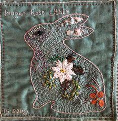 French Vintage, Hand Stitching, Needlework, Rabbit, Ann, Textiles, Brooch, Bird, Spring