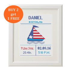 Beautiful simply use patriotic Customizable Pattern pdf cross stitch. Cross Stitch Birth Record chevron Nautical Baby Boy, Baby Girl.  ✽ ✽ ✽ Instant Download! The file / link will be sent to your Etsy email address.And the link will be available to download just for 15days .So please save them to your computer as soon as possible.   ✽ PATTERN DETAILS ✽ PDF Pattern Design area: 104w X 133h Stitches Fabric: Aida 14, Any fabric you like Floss: DMC Anchor Madeira (4-6 colors) Size: 19 x 24 cm…