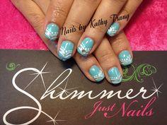 Tiffany's Blue w/wht accents Nails 2013