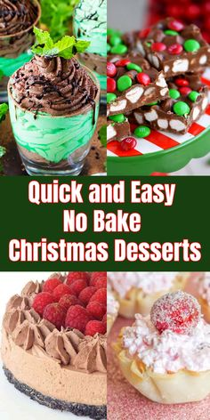 16 Quick and Easy No Bake Christmas Desserts Christmas Desserts Easy, Easy No Bake Desserts, Fun Desserts, Dessert Recipes, Christmas Sweets, Christmas Parties, Christmas Candy, Cheesecake Recipes, Christmas 2019