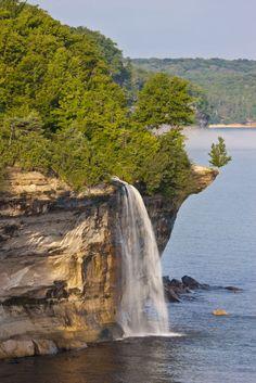 Pictured Rocks waterfall Michigan U.P.