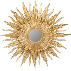 gold sunburst mirror. European Gold Gilt Hand-Carved Wood Sunburst Mirror T