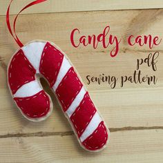 Items similar to Candy cane - PDF sewing pattern, felt candy cane, Christmas ornament, softie on Etsy Christmas Crafts, Christmas Ornaments, Xmas, Pdf Sewing Patterns, Softies, Candy Cane, Hand Stitching, Felt, Unique Jewelry