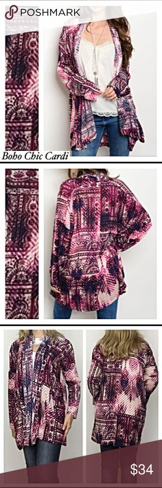 "✨SALE Boho Chic Cardi Kimono Pockets Small Med Absolutely gorgeous boho tribal kimono/cardigan in fuchsia, black, navy blue & ivory. Add an instant boho chic look & splash of color to any solid top/tee with this beauty. Really great fit & even has pockets. Nice quality thick rayon. SML  Small 2/6 length 29"" Medium 8/10 length 29.5"" Large 12/14 length 30"" long Sweaters Cardigans"