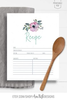 Printable Recipe Binder Kit Recipe Page and Notes - #recipebinderkit #recipekit #cookbook #recipeorganization #recipebook #cookbookorganization #printable #watercolorflorals #watercolor #flowers #diycookbook #diyrecipebook #familycookbook #familyrecipebook #cooking #baking #food #recipebinder #diy #printable #digitaldownload #recipe #printablerecipepage #printablenotespage Printable Recipe Page, Cookbook Organization, Family Recipe Book, Recipe Sheets, Recipe Cover, Recipe Binders, Baby Shower Printables, Cover Pages, Printing Services