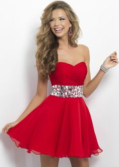 Blush Prom 9683 Cute Red Strapless Dress with a Sweetheart Neckline
