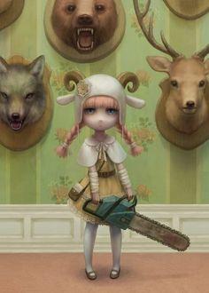 Beautiful Digital Art by Daiyou-Uonome - Art And Illustration, Illustrations Pop, Portrait Illustration, Fashion Illustrations, Mark Ryden, Creepy Art, Weird Art, Cartoon Kunst, Cartoon Art