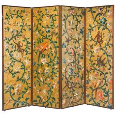 A Fine 19th Century Gold Ground Four Fold Screen | From a unique collection of antique and modern screens at https://www.1stdibs.com/furniture/more-furniture-collectibles/screens/
