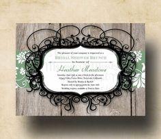 Rustic Bridal Shower Invitation - Wedding Shower Invitation - Printable Invites - Lace Floral - Heather on Etsy, $12.50
