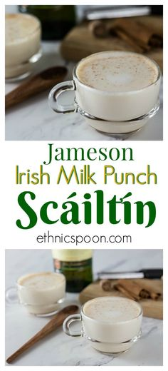 Scaitlin (Irish Whiskey Milk Punch) is perfect for a cold winter night. It's flavored with spices, and sweetened with honey. It's similar to a hot toddy. Jameson Whiskey Drinks, Whiskey Cocktails, Scotch Whiskey, Bourbon Drinks, Fireball Drinks, Jameson Irish Whiskey, Drinks Alcohol, Alcohol Recipes, Party Knaller