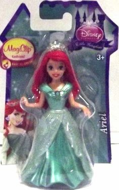 """Disney Princess Little Kingdom MagiClip Fashion Ariel Doll by Mattel. $16.00. Features Disney Princess Little Kingdom MagiClip Fashion Ariel Doll and Snap-On Dress. Dimensions: Approximately 3.75"""" Tall. Easy to dress! Ages 3+"""