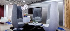 Haworth Client Space: Cornerstone OnDemand - lobby area  Tulip chairs, lobby seating, collaboration furniture