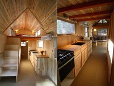 A 260 square feet tiny house on wheels in Boulder, Colorado. Built by SimBLISSity Tiny Homes.