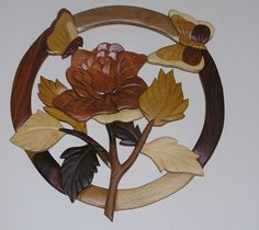 Rose and Butterflies Wall Hanging Intarsia Wood    $36.00