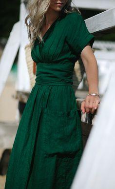 Linen dress made from linen 119 - Green Dresses - Ideas of Green Dresses Linen kimono dress. Made from soft Baltic linen. Color: green Measurements (+/- Size S: Lenght: 46 Linen Dresses, Casual Dresses, Fashion Dresses, Elegant Dresses, Sexy Dresses, Formal Dresses, Party Dresses, Simple Dresses, Green Dress Casual