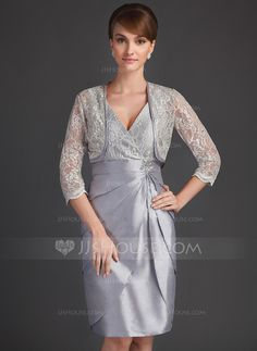 Mother of the Bride Dresses - $127.99 - Sheath/Column V-neck Knee-Length Taffeta Lace Mother of the Bride Dress With Beading Sequins Cascading Ruffles (008021085) http://jjshouse.com/Sheath-Column-V-Neck-Knee-Length-Taffeta-Lace-Mother-Of-The-Bride-Dress-With-Beading-Sequins-Cascading-Ruffles-008021085-g21085?pos=best_selling_items_4