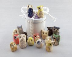 {Miniature Clay Owls} set of 5 surprise owls - so cute!