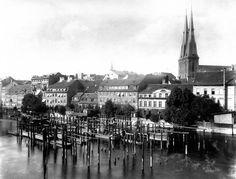 Nikolaiviertel 1888,Spree mit Rueckseite der Poststrasse 9-13