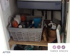Tamed Spaces de-clutters this bathroom cupboard in under 60 minutes showing the before, during and after process. Next step is to organise! Declutter, Cupboard, Organization, Spaces, Bathroom, Home Decor, Clothes Stand, Getting Organized, Washroom