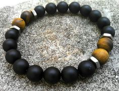 Mens Fashion 10mm handmade bracelet, Matte black onyx bracelet and Matte yellow Tiger eye bracelet, Stretch Bracelet, Hex nut bracelet.