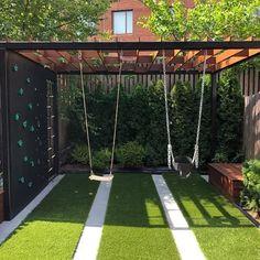 Modern Playground, Kids Backyard Playground, Backyard Swings, Backyard For Kids, Backyard Patio, Backyard Play Areas, Playground Ideas, Modern Backyard, Small Backyard Landscaping