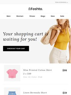 Transaction Email Abandoned Cart by Liramail - Email design Inspiration by Liramail Email Template Design, Email Newsletter Design, Email Templates, Email Design Inspiration, Email Marketing Design, Poster Background Design, Clothing Company, Printed Cotton, Web Design