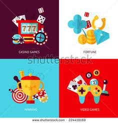 Game design flat concept set with casino fortune winning video isolated vector illustration - stock vector