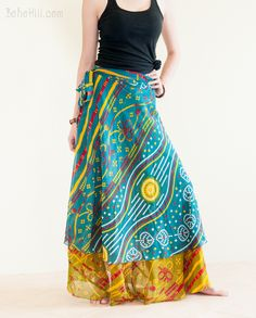 Unique Reversible Wrap Around Layered Gypsy Skirt Burning Man Outfits, Hippie Skirts, Gypsy Skirt, Wrap Around, Handmade Clothes, Boho Chic, Unique, Closet, Fashion
